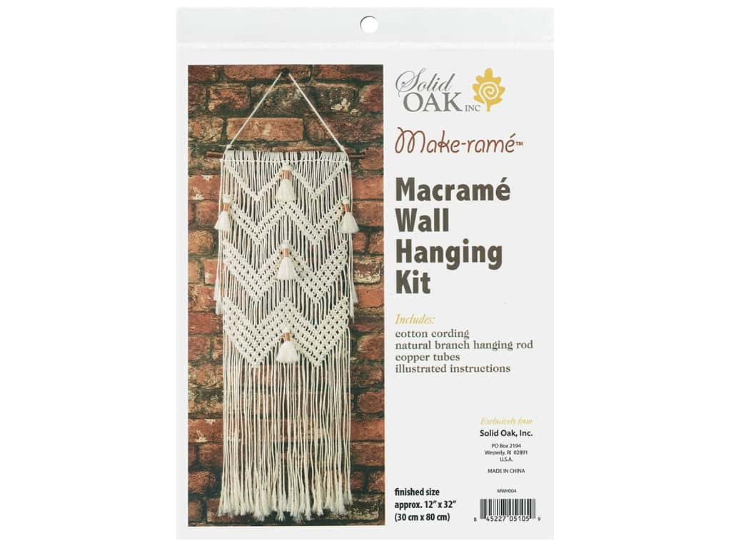 Solid Oak Kit Macrame Wall Hanger Chevrons & Tassels