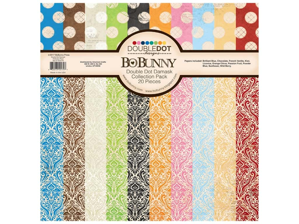 Bo Bunny Double Dot Damask Collection Pack 12 in. x 12 in.