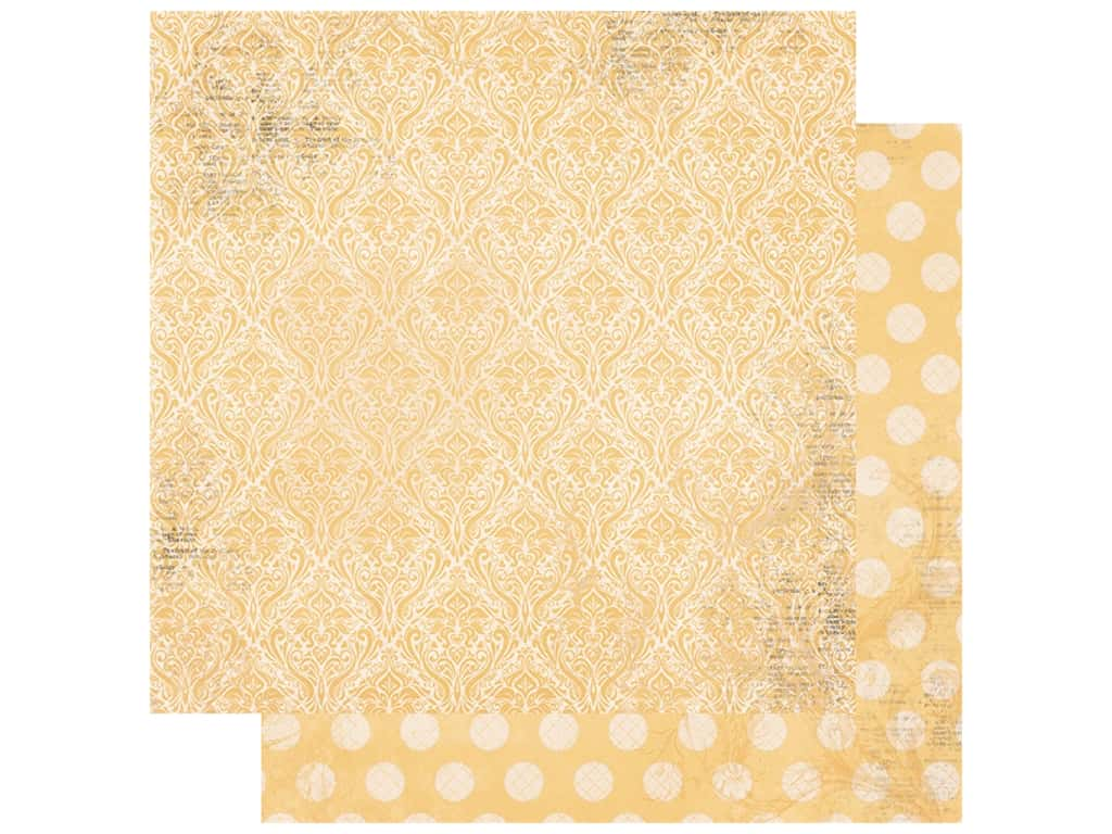 Bo Bunny Double Dot Damask Paper 12 in. x 12 in. Sunflower (25 pieces)