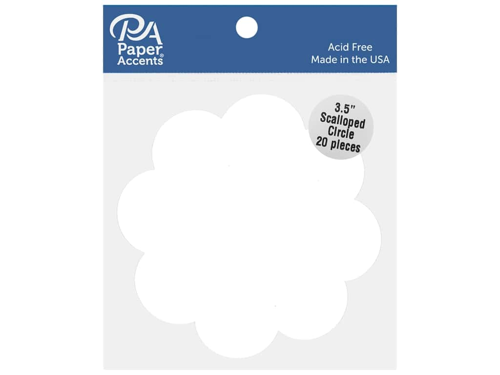 Paper Accents Cardstock Shape Scalloped Circle 3.5 in. White 20 pc