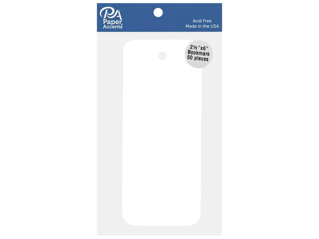Paper Accents Cardstock Shape Bookmark 2.5 in. x 6 in. White 50 pc