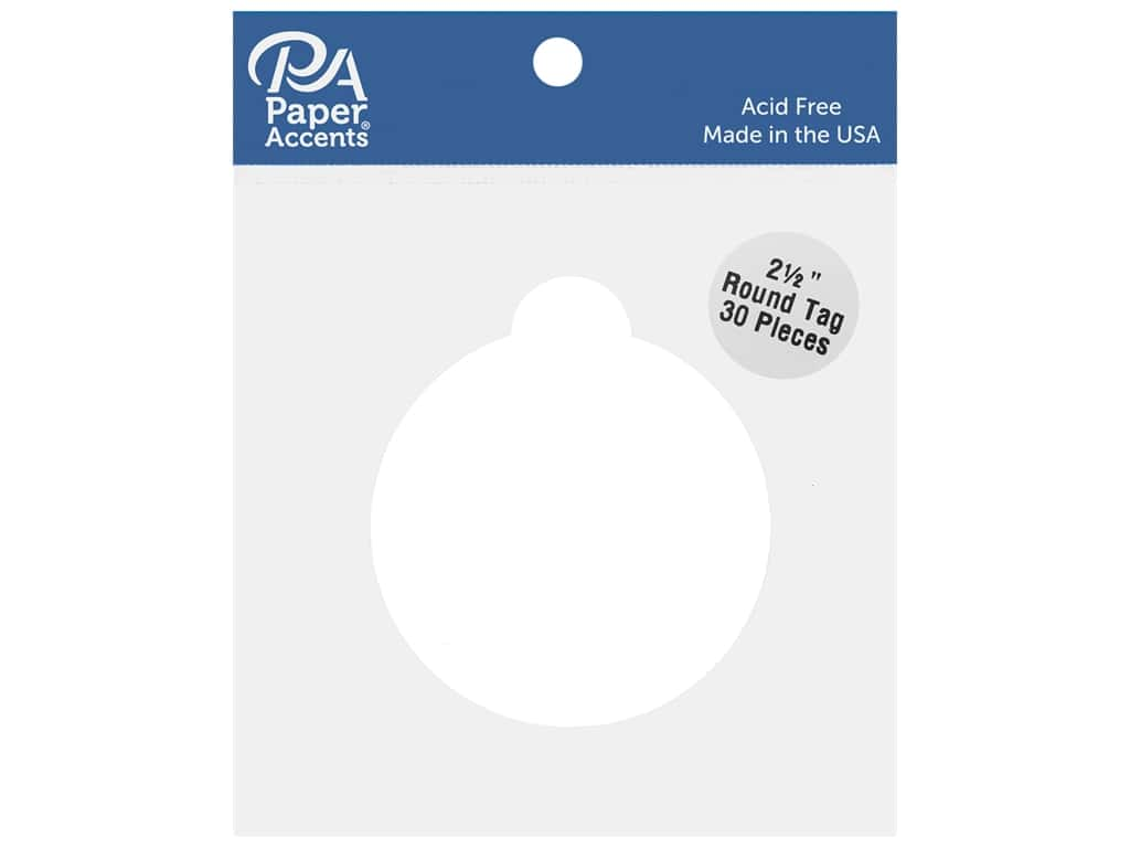 Paper Accents Cardstock Shape 2 1/2 in. Round Tag White 30 pc.