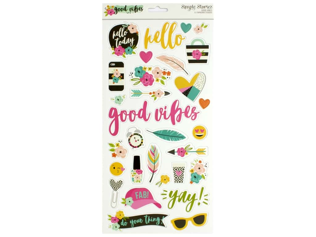 Simple Stories Collection Good Vibes Chipboard 6 in. x 12 in.