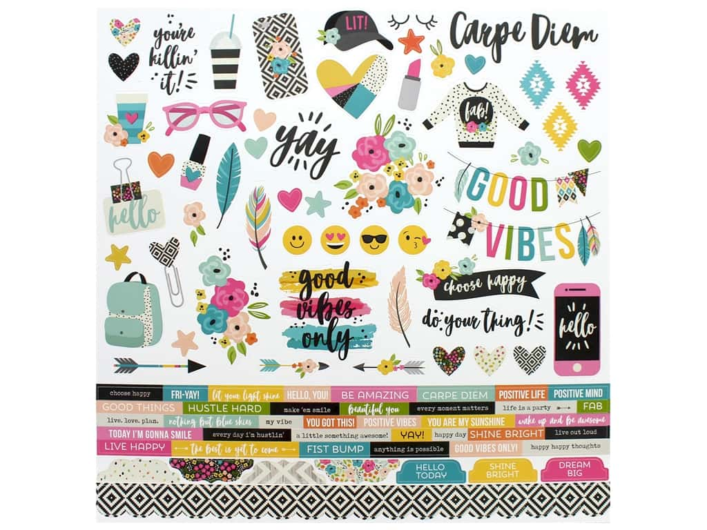 Simple Stories Collection Good Vibes Sticker Combo 12 in. x 12 in. (12 pieces)