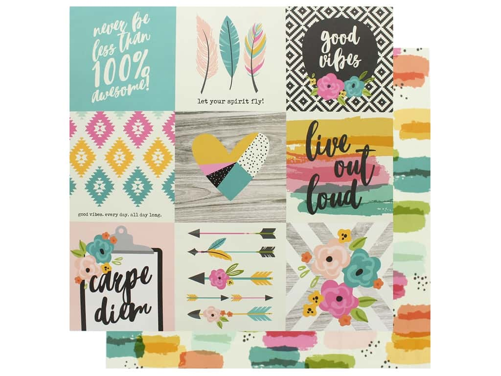 Simple Stories Collection Good Vibes Paper 12 in. x 12 in. Elements 4 in. x 4 in. (25 pieces)