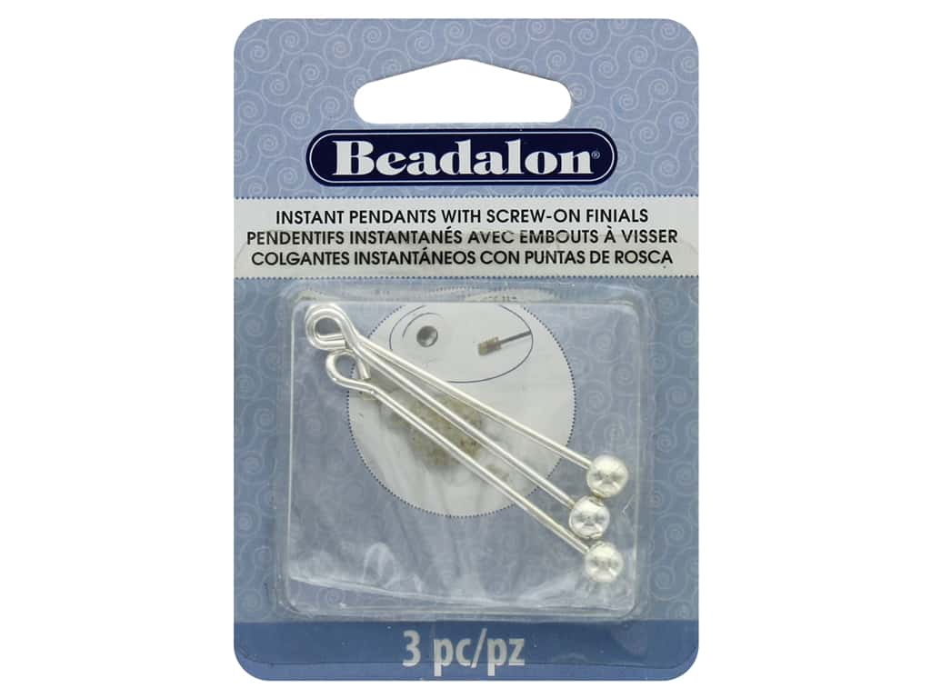 Beadalon Findings Instant Pendant Round 36.6 mm x 1.6 mm Silver 3 pc