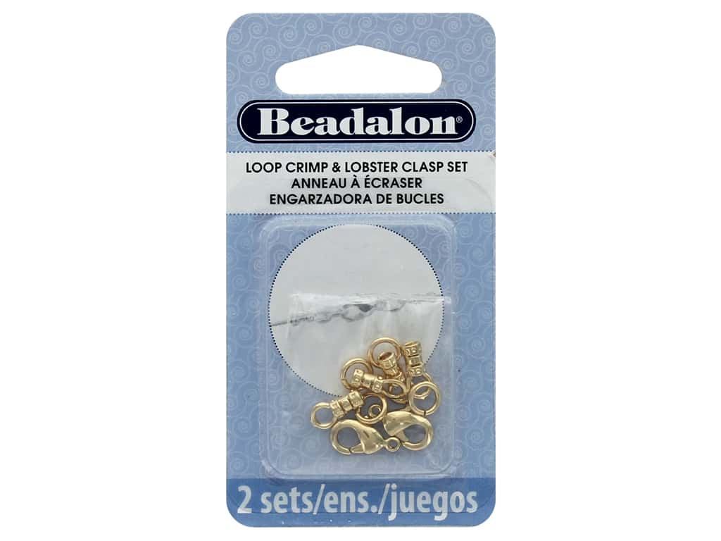 Beadalon Clasp Lobster Loop Crimp Set 2 mm Gold 10 pc