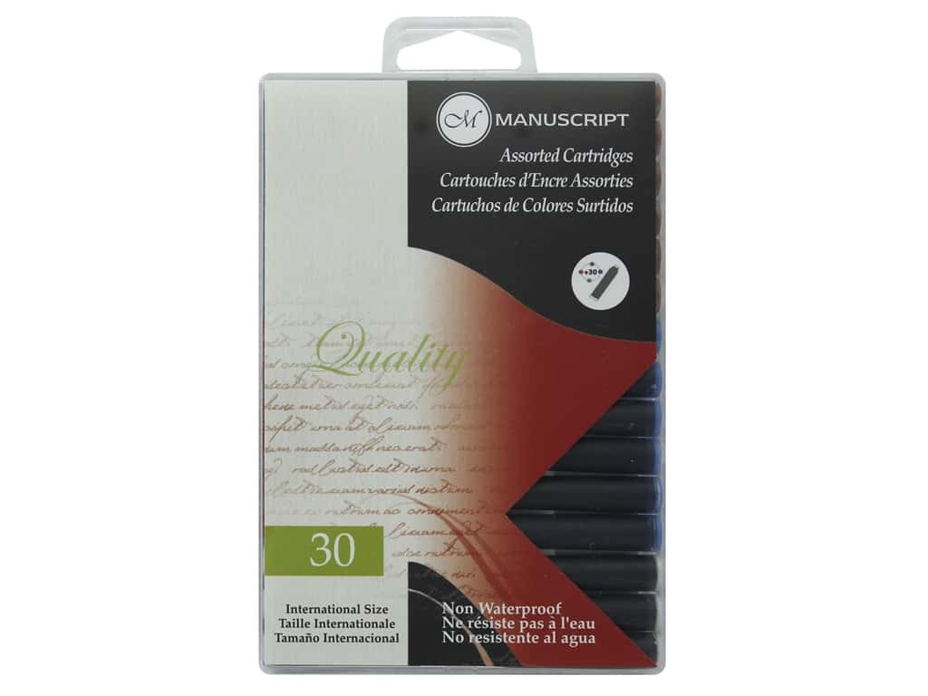 Manuscript Fountain Pen Ink Cartridge 30pc Assorted