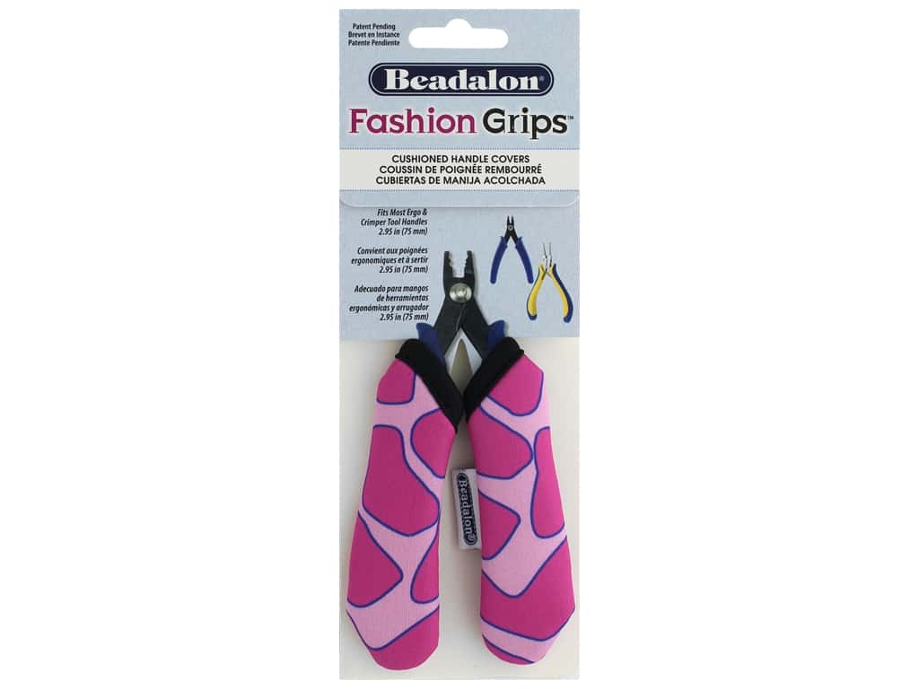 Beadalon Tool Fashion Grips Cover Medium Giraffe Pink 2 pc