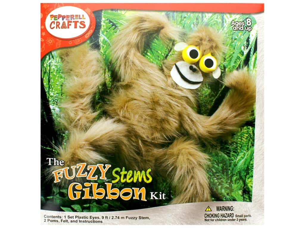 Pepperell Kit Fuzzy Stem Animal Gibbon