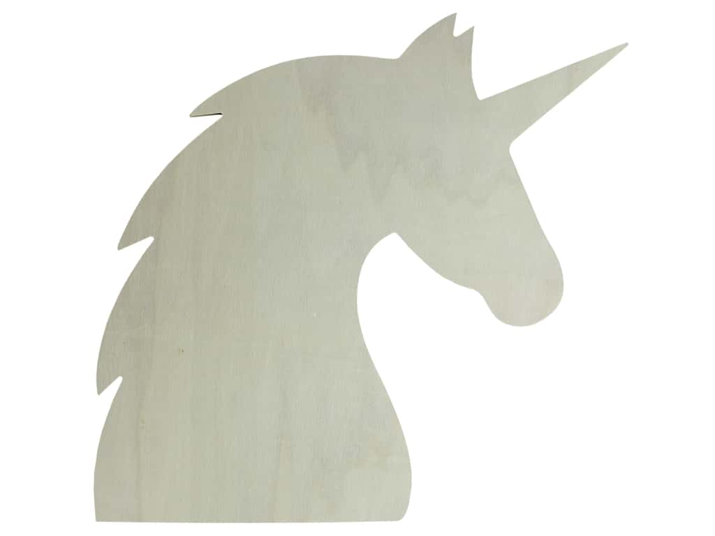 Darice Wood Shape Unfinished Unicorn 12 in.