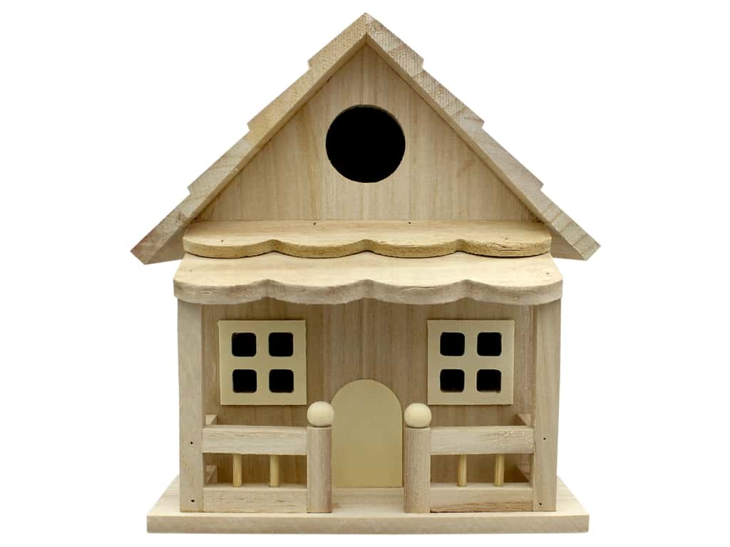 Darice Wood Birdhouse With Porch Unfinished