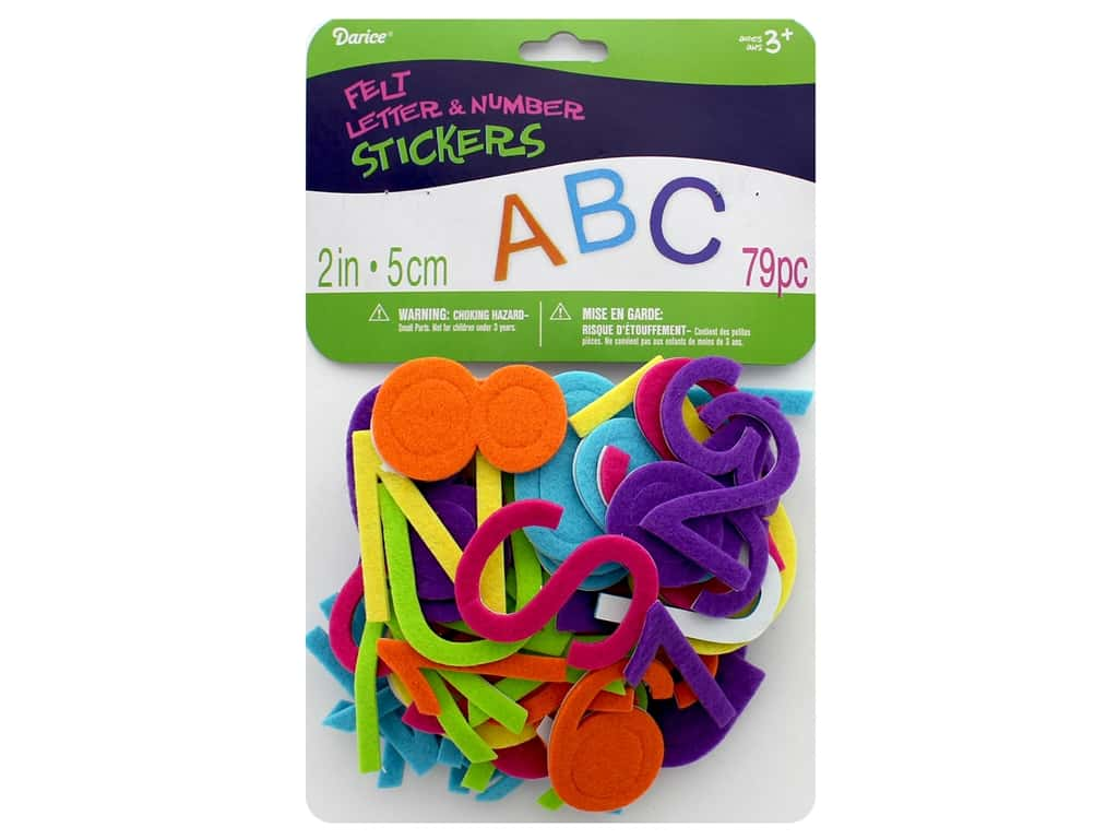 Darice Felties Sticker Alpha 2 in. Bright 79 pc