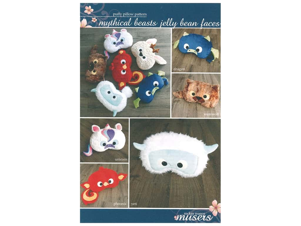 McKay Manor Musers Pattern - Musers Mythical Beasts Jelly Bean Faces Pillow