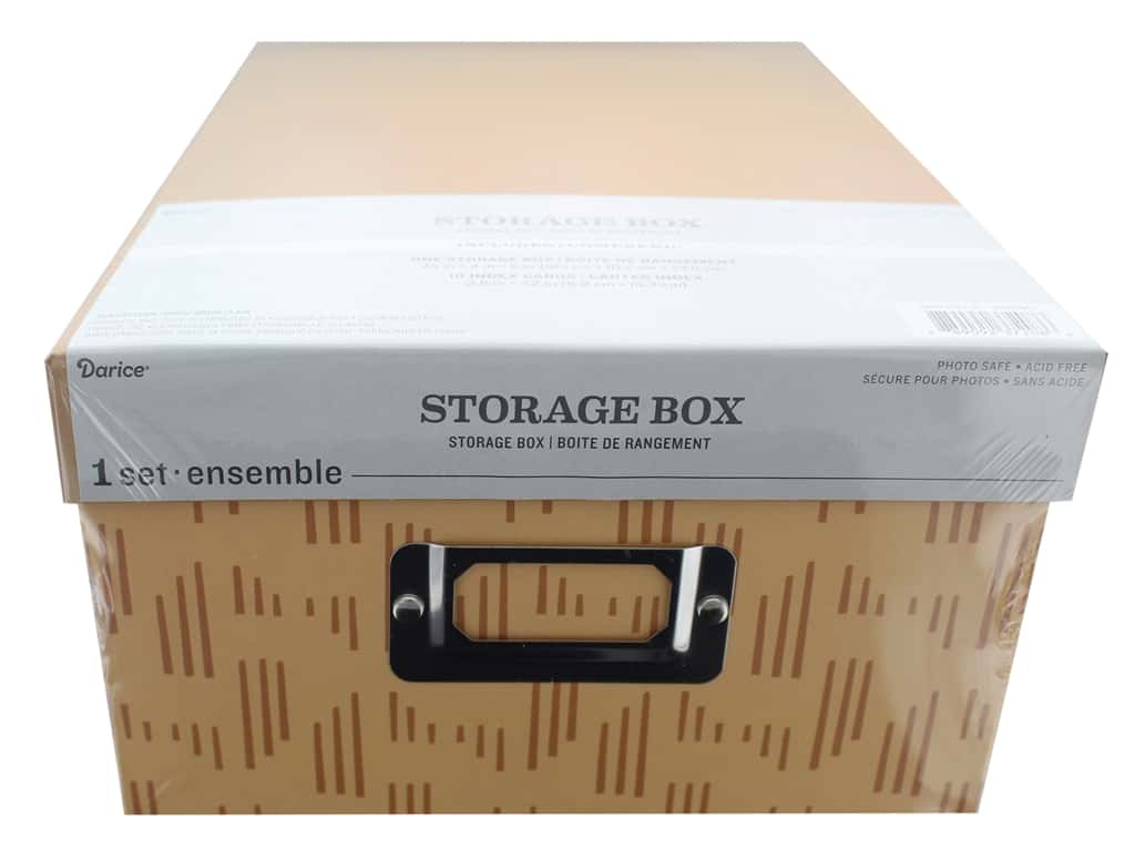 Darice Organizer Storage Photo Box 7.5 in. x 4 in. x 11 in. Tan Pattern