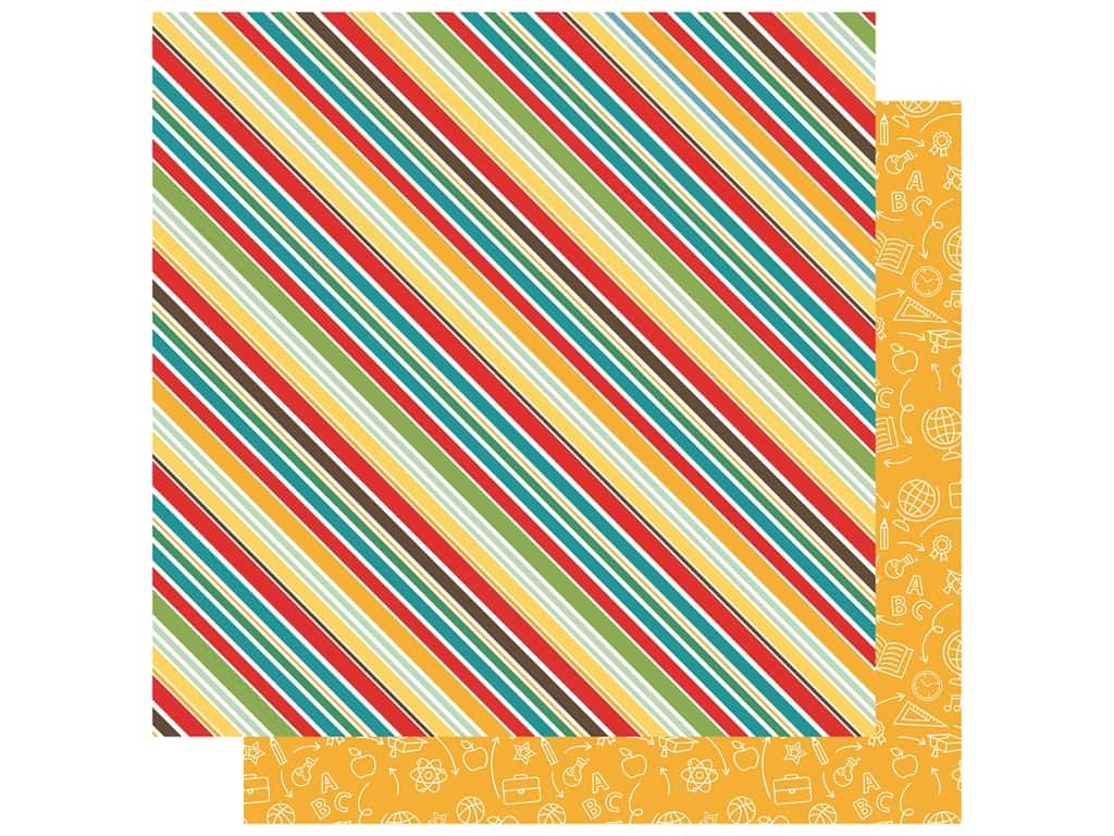 Echo Park Collection Back To School Paper 12 in. x 12 in. School Stripes (25 pieces)