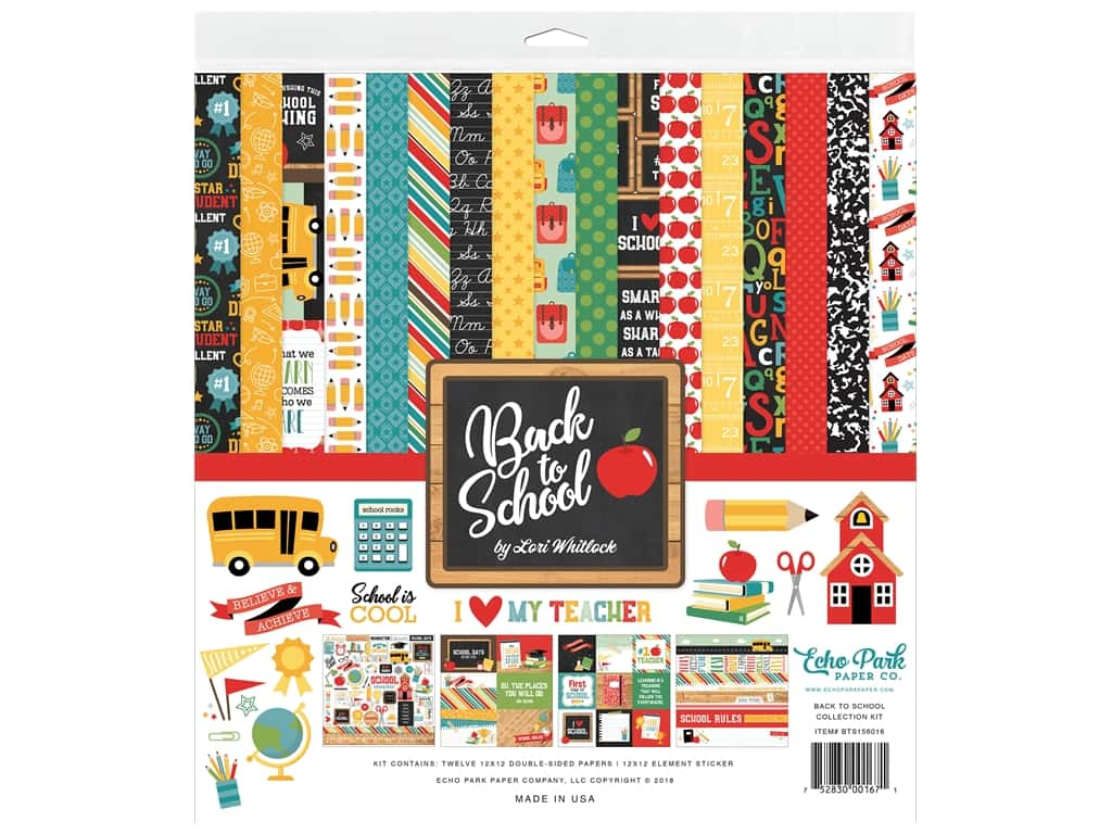 Echo Park Collection Back To School Collection Kit 12 in. x 12 in.