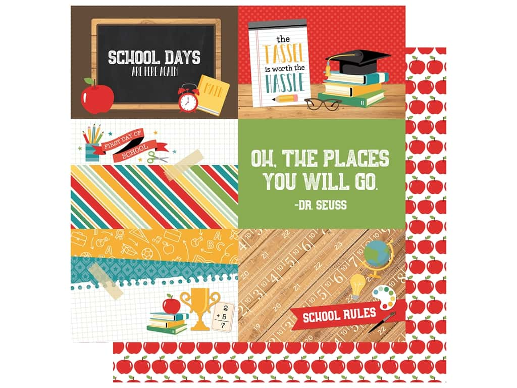 Echo Park Collection Back To School Paper  12 in. x 12 in. Journal Cards 4 in. x 6 in. (25 pieces)