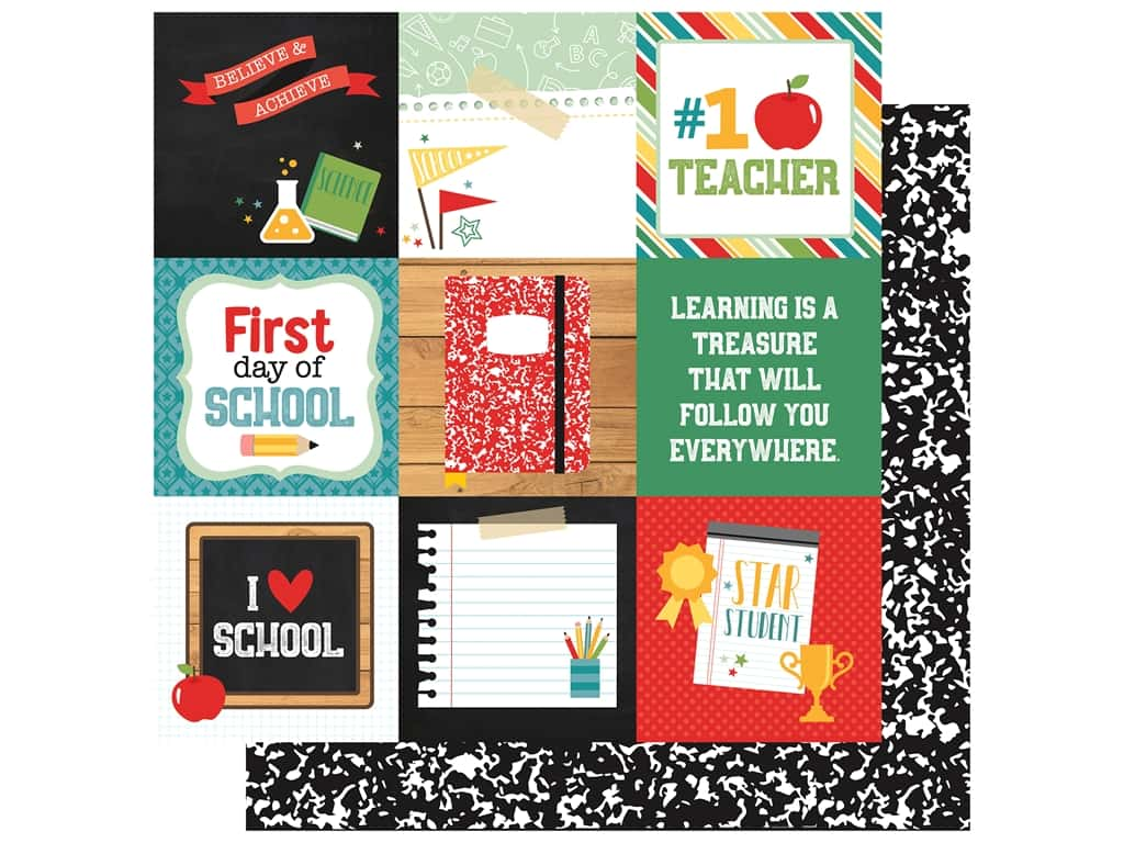 Echo Park Collection Back To School Paper 12 in. x 12 in. Journal Cards 4 in. x 4 in. (25 pieces)