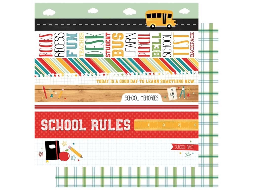 Echo Park Collection Back To School Paper 12 in. x 12 in. Border Strips (25 pieces)