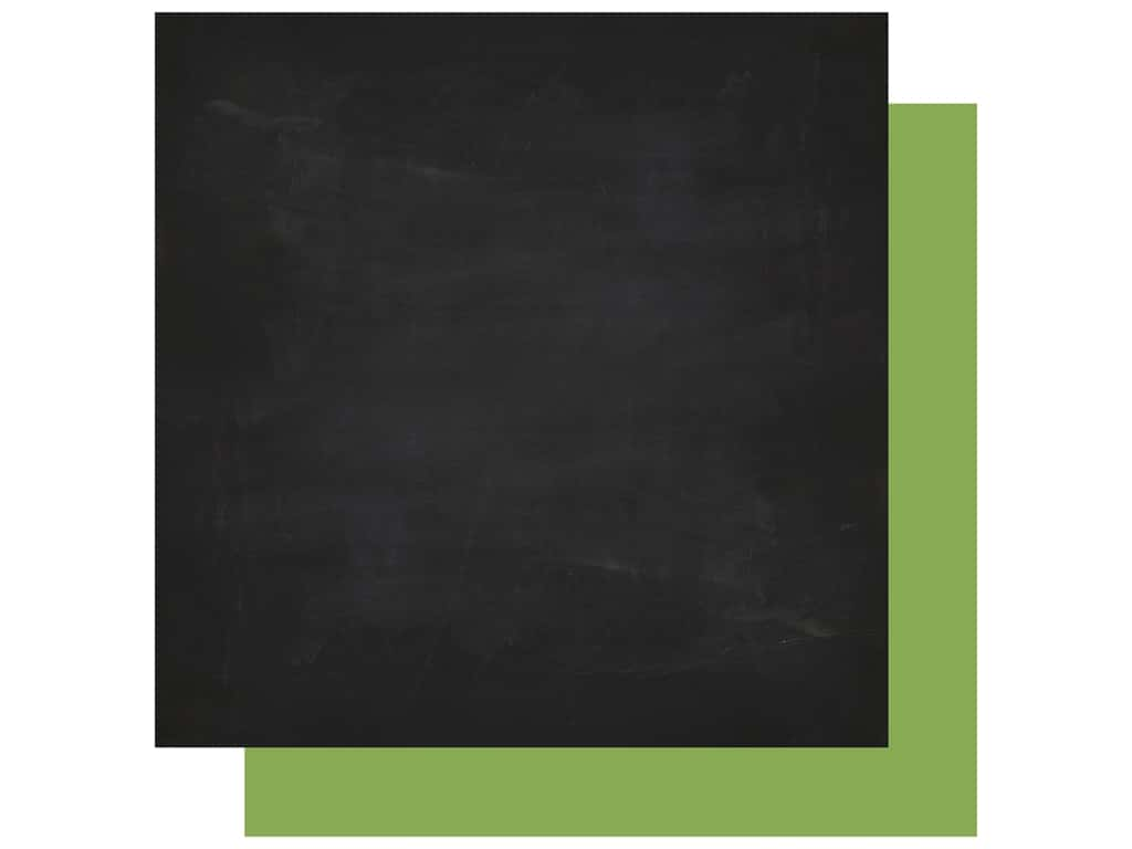 Echo Park Collection Back To School Paper  12 in. x 12 in. Chalkboard/Green (25 pieces)
