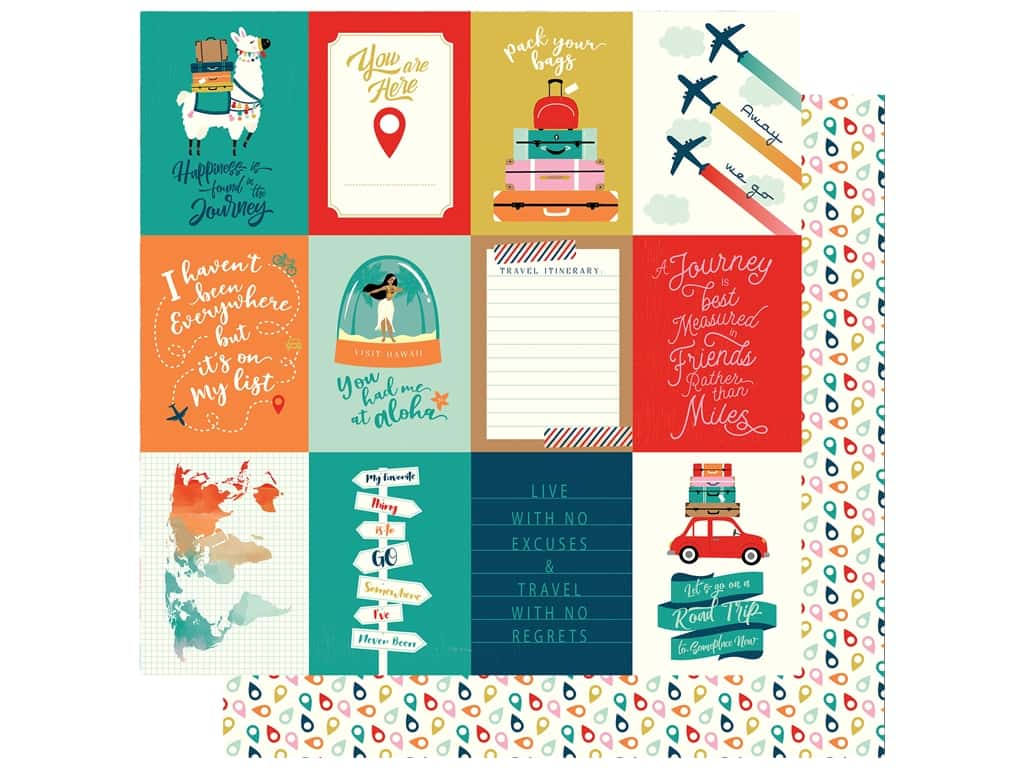 Carta Bella Pack Your Bags Paper 12 in. x 12 in. Journaling Card 3 in. x 4 in. (25 pieces)