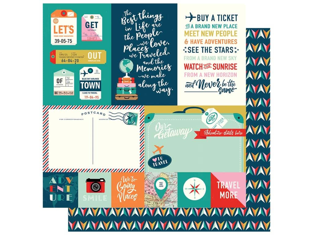 Carta Bella Pack Your Bags Paper 12 in. x 12 in. Multi Journaling Cards (25 pieces)