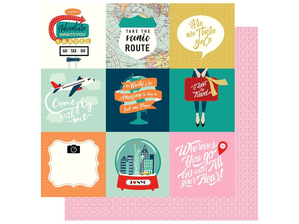 Carta Bella Pack Your Bags Paper 12 in. x 12 in. Journaling Card 4 in. x 4 in. (25 pieces)