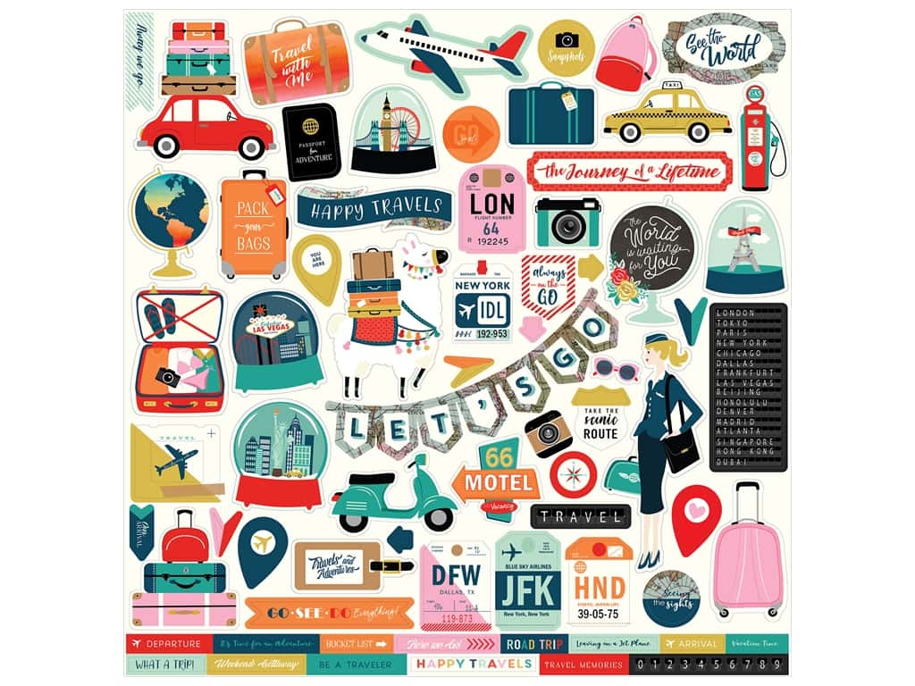 Carta Bella Pack Your Bags Sticker 12 in. x 12 in. (15 pieces)