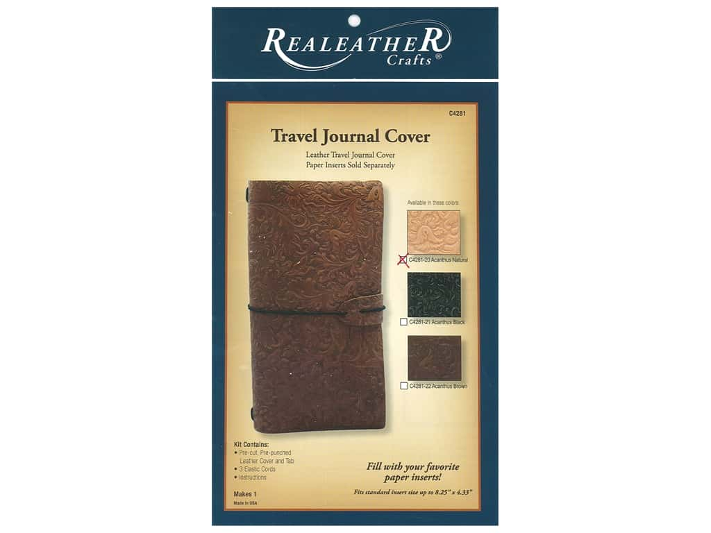 REALEATHER Travel Journal Cover Acanthus Natural