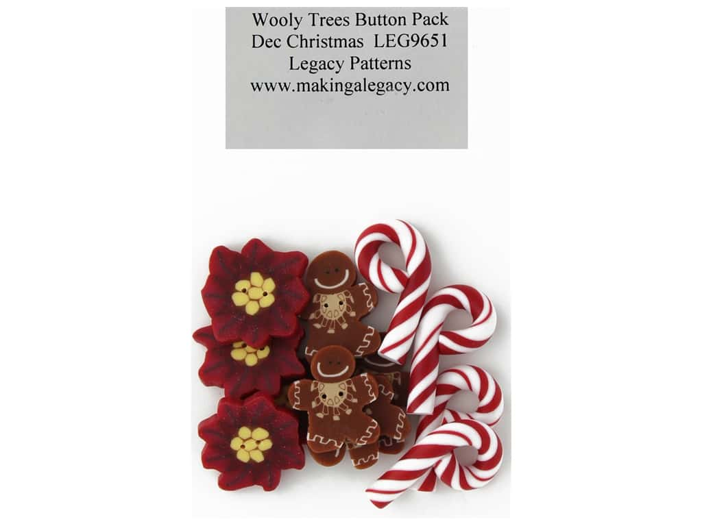 Legacy Patterns Accents Wooly Trees Button Pack December Christmas