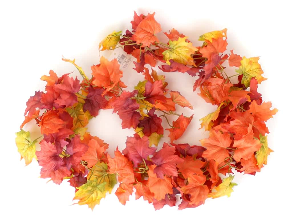 Darice Fall Garland Chain Maple Leaves 7 ft