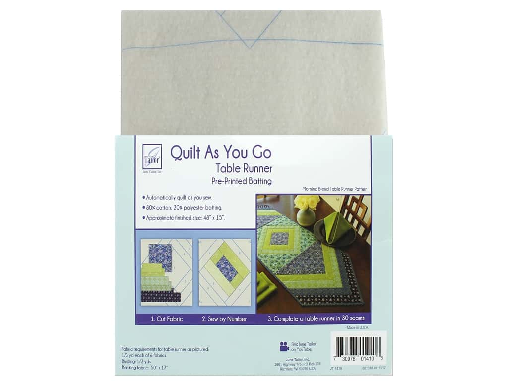 June Tailor Batting Quilt As You Go Cotton/Polyester Table Runner Morning Blend