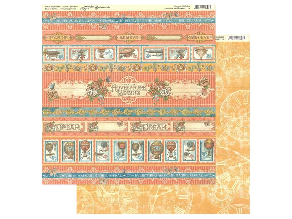 Graphic 45 Collection Imagine Paper 12 in. x 12 in. Adventure Beckons (25 pieces)