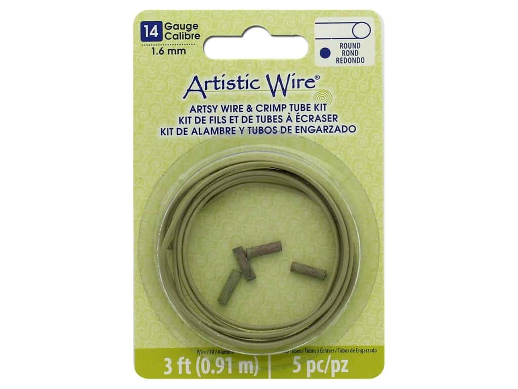 Artistic Wire Artsy Wire With Crimps 14 Gauge Olive 3ft