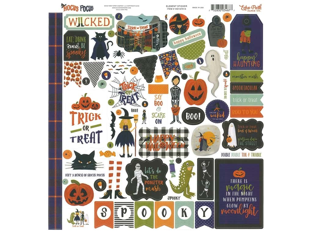 Echo Park Collection Hocus Pocus Sticker 12 in. x 12 in. Elements (15 pieces)