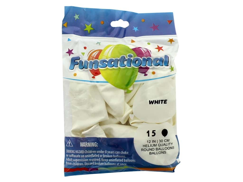 Pioneer Funsational Balloons 12 in. 15 pc. White