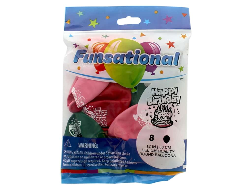 Pioneer Funsational Balloons 12 in. 8 pc. Happy Birthday