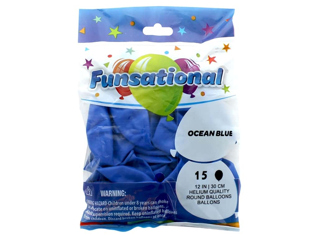 Pioneer Funsational Balloons 12 in. 15 pc. Ocean Blue