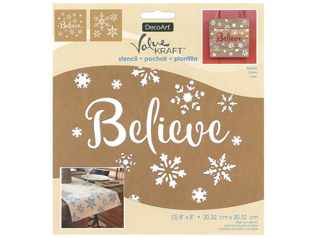 DecoArt Stencil Value Kraft 8 in. x 8 in. Christmas Believe