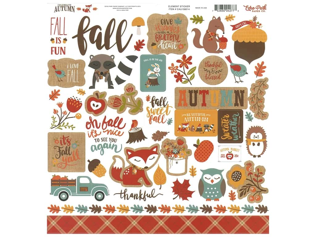 Echo Park Celebrate Autumn Sticker 12 in. x 12 in. (15 sets)
