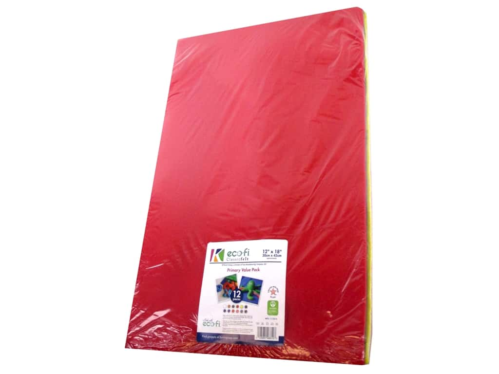 Kunin Felt Pack Classic 12 in. x 18 in. Assorted Primary 12 pc