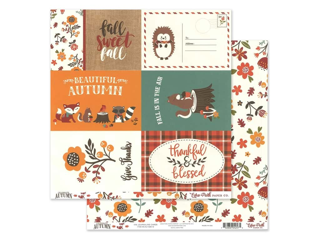 Echo Park Celebrate Autumn Paper  12 in. x 12 in. Journaling Cards 4 in. x 6 in. (25 pieces)