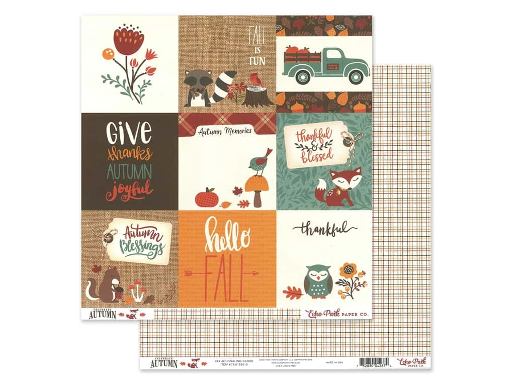 Echo Park Celebrate Autumn Paper 12 in. x 12 in. Journaling Cards 4 in. x 4 in. (25 pieces)