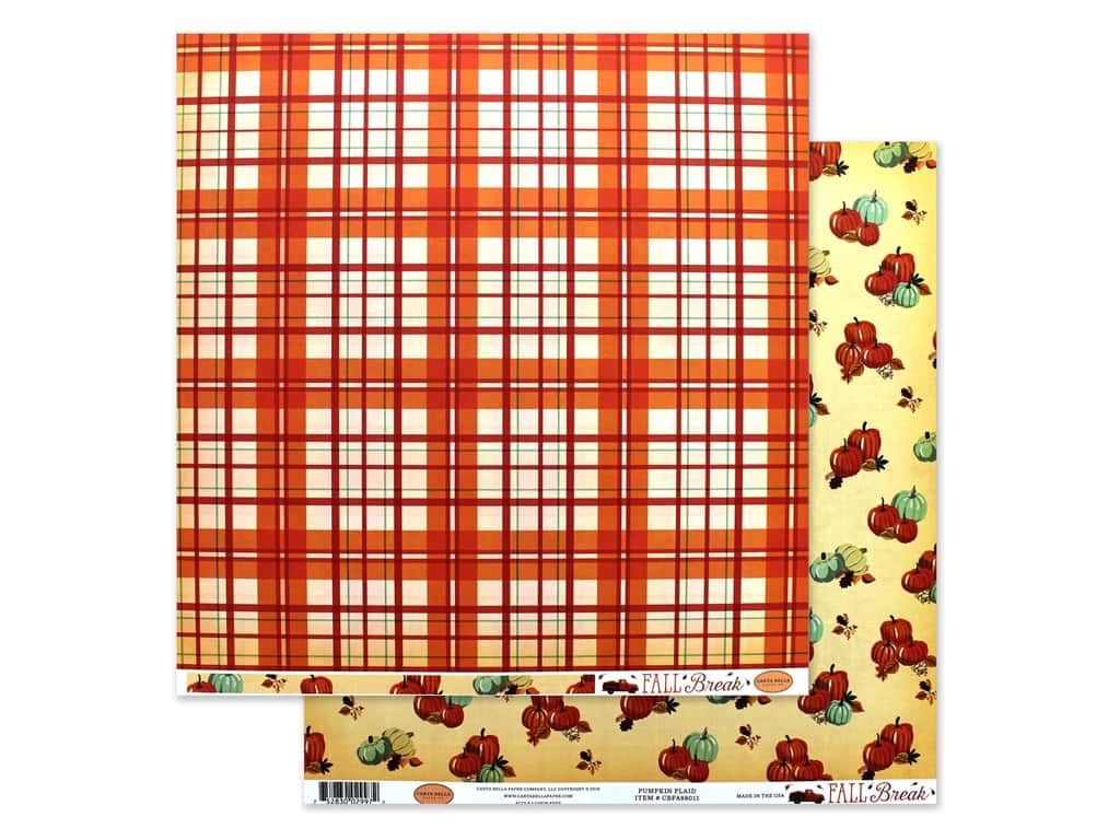 Carta Bella Fall Break Paper 12 in. x 12 in. Pumpkin Plaid (25 pieces)
