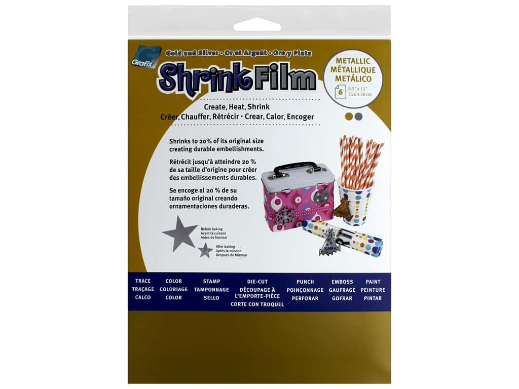 Grafix Shrink Film 8.5 in. x 11 in.  6 pc Gold/Silver