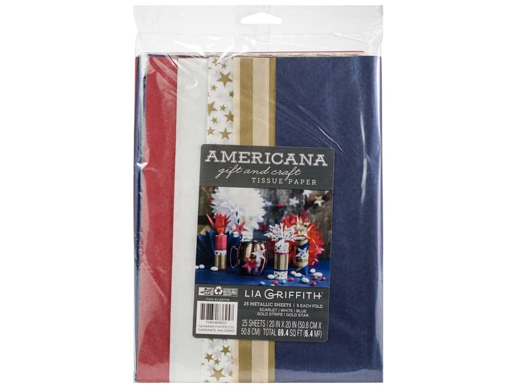 Werola Lia Griffith Tissue Paper Frosted Americana 25 pc