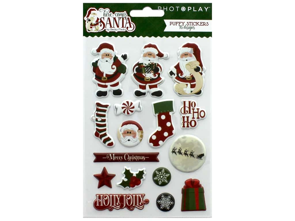 Photo Play Collection Here Comes Santa Sticker Puffy