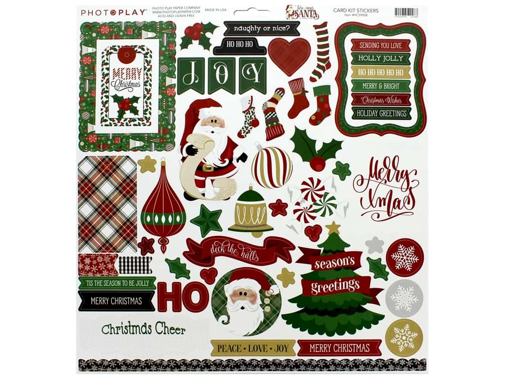 Photo Play Collection Here Comes Santa Card Kit Sticker (12 pieces)