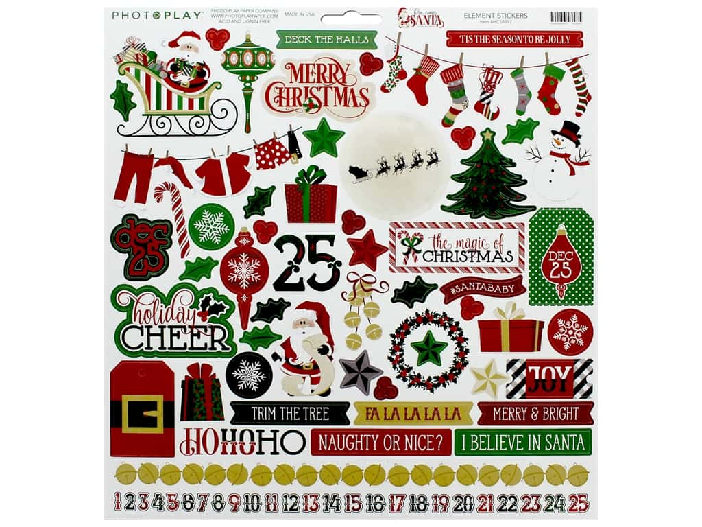 Photo Play Collection Here Comes Santa Sticker Element 12 in. x 12 in. (12 pieces)